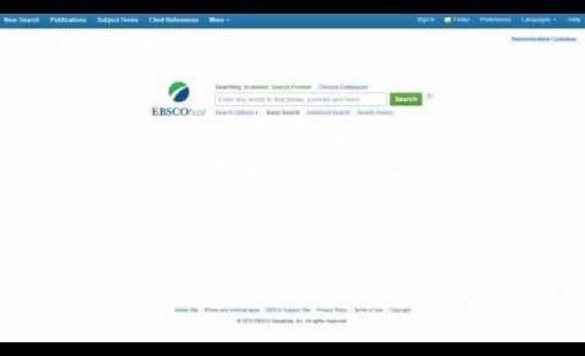 EBSCOhost Basic Search - Tutorial
